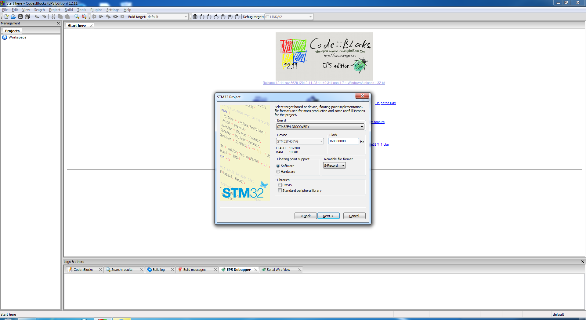 STM32 project wizard launched